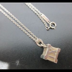 Tiffany & Co. Silver Atlas Cube Necklace with bag